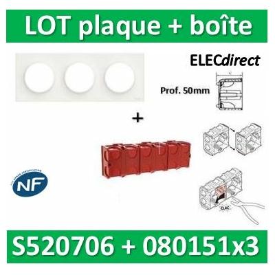 Schneider Odace - Plaque 3 postes + Boîte Batibox à sceller Legrand 3 postes - Hor/vert - s520706+080151x3