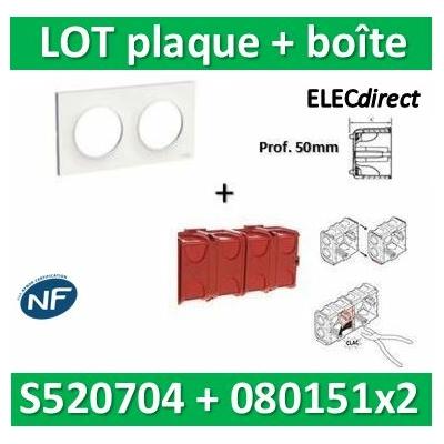 Schneider Odace - Plaque 2 postes + Boîte Batibox à sceller Legrand 2 postes - Hor/vert - s520704+080141x2