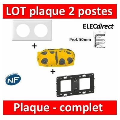 Legrand Céliane - LOT - Plaque 2 postes - hori./Vert BBC - 066632+080252+080032