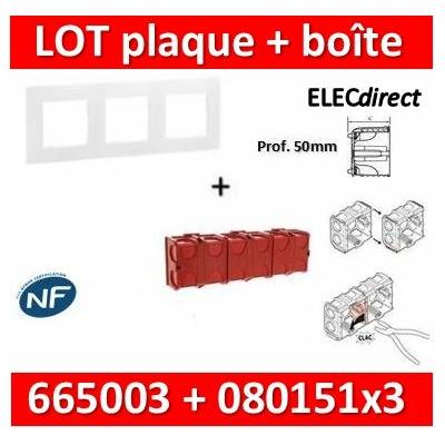 Legrand Niloé - Plaque 3 postes + Boîte Batibox à sceller Legrand 3 postes - Hor/vert - 665003+080151x3