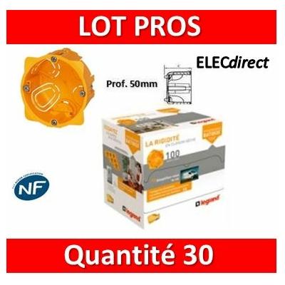 Legrand Batibox - LOT PROS -  Boîte d'encastrement 1 poste - Prof. 50 - 080051x30