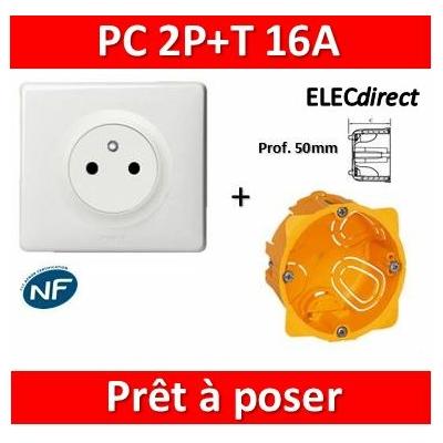 Legrand Céliane - Prêt à poser - Prise 2P+T complet + boîte batibox 1 poste