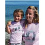 Mini T shirt ART rose 3-4 ans porté par Alice