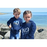 Mini Hoodie ART French navy junior 3-4 ans porté par Enzo et Mini Hoodie signature NO marine  3-4 ans porté par Alice (2)