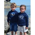Mini Hoodie ART French navy junior 3-4 ans porté par Enzo et Mini Hoodie signature NO marine  3-4 ans porté par Alice (6)
