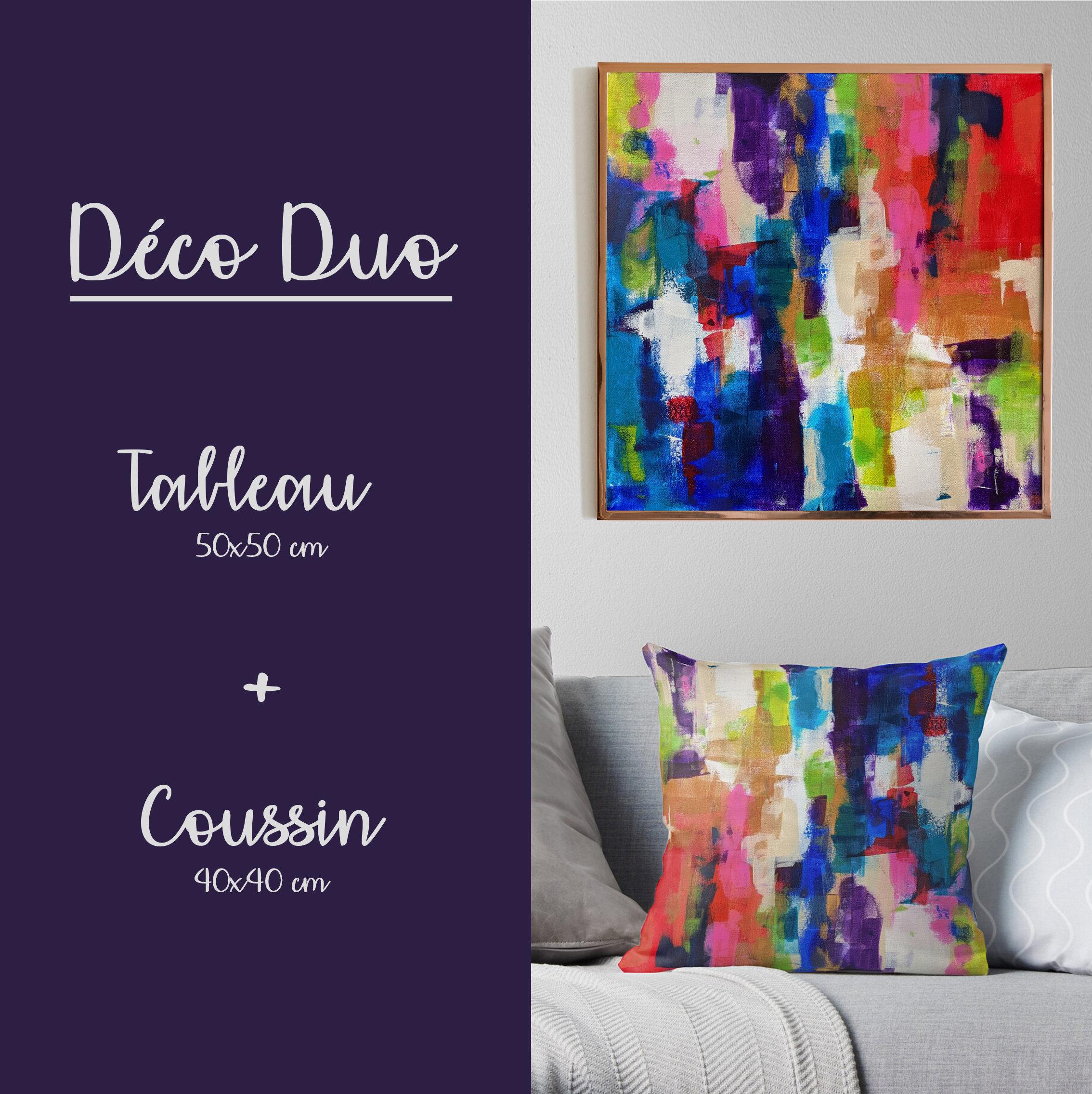 Déco Duo Vivaldi - Peinture acrylique sur toile + Coussin imprimé