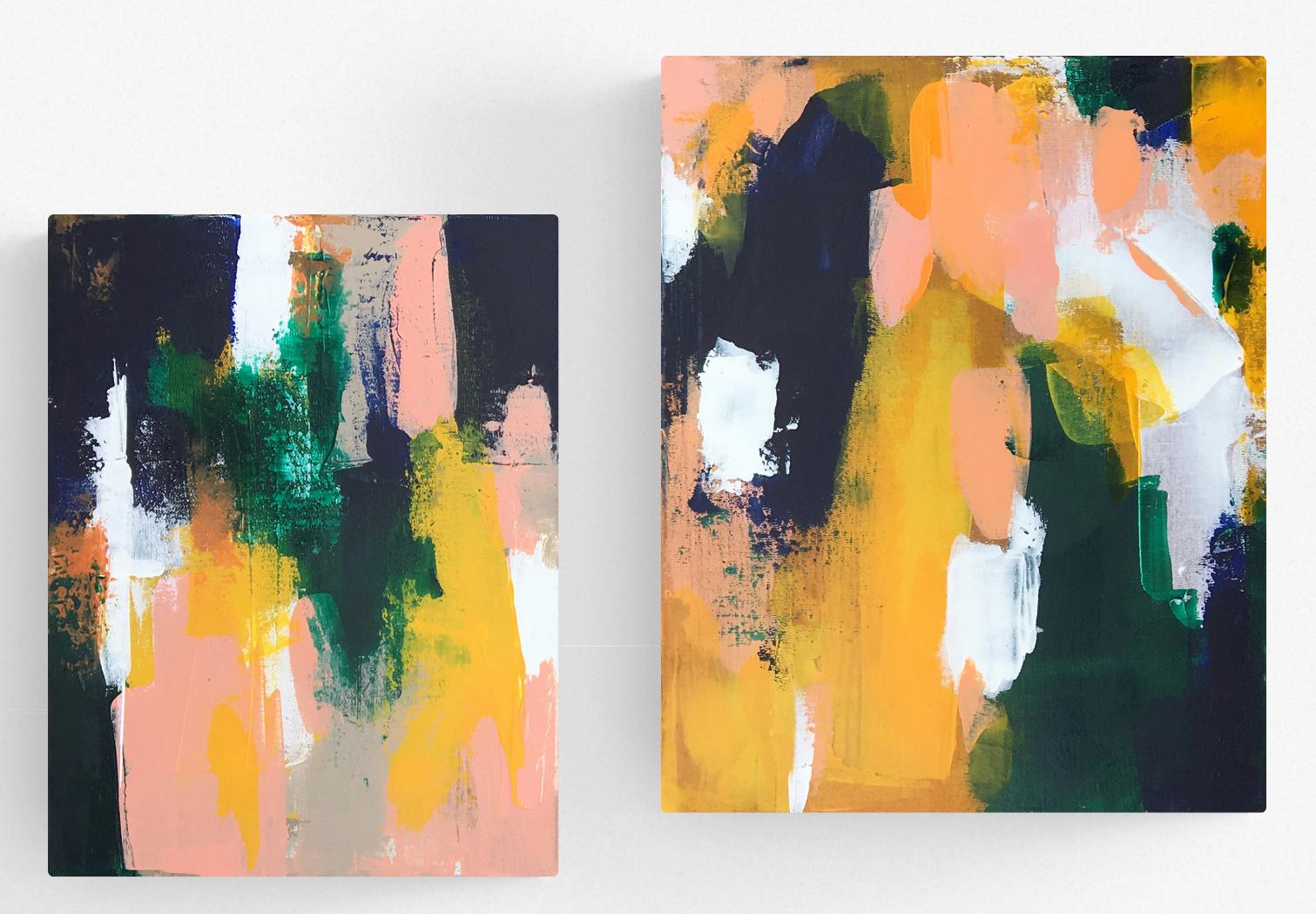 Brush - Tableaux déco Peintures acrylique sur toiles 27x35cm et 32x41cm