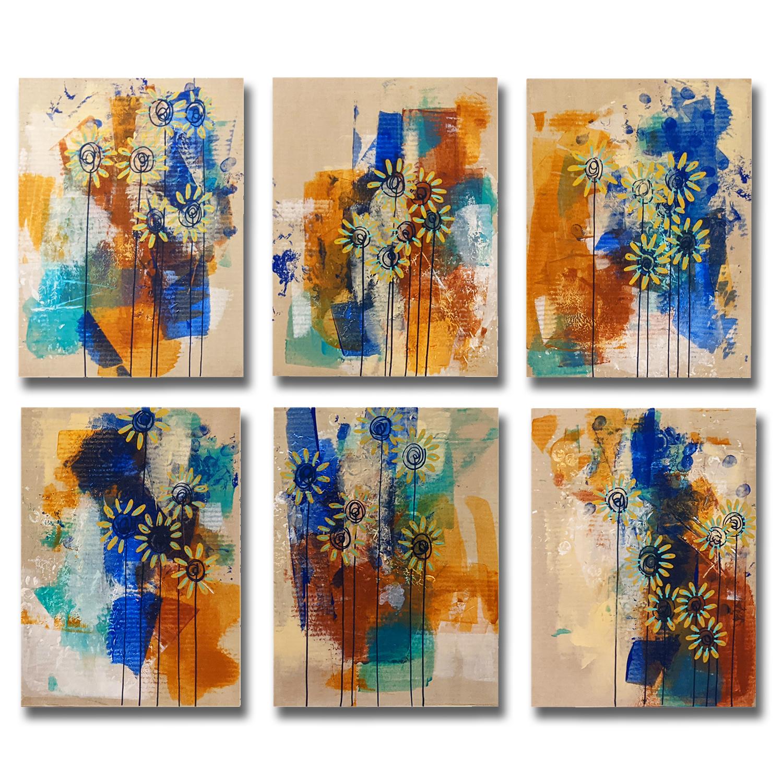Pissenlits - Peintures acrylique sur cartons encadrés 54x48cm