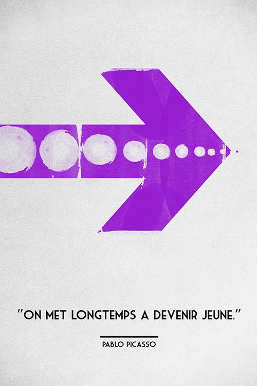 Poster-Decoration-Art-Mural_Message_Citation_Picasso_long-temps-jeune_40x60cm