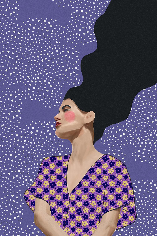 Poster-Decoration-Art-Mural_Dessin_Illustration_Portrait_Motifs_Femme-Mademoiselle_40x60cm