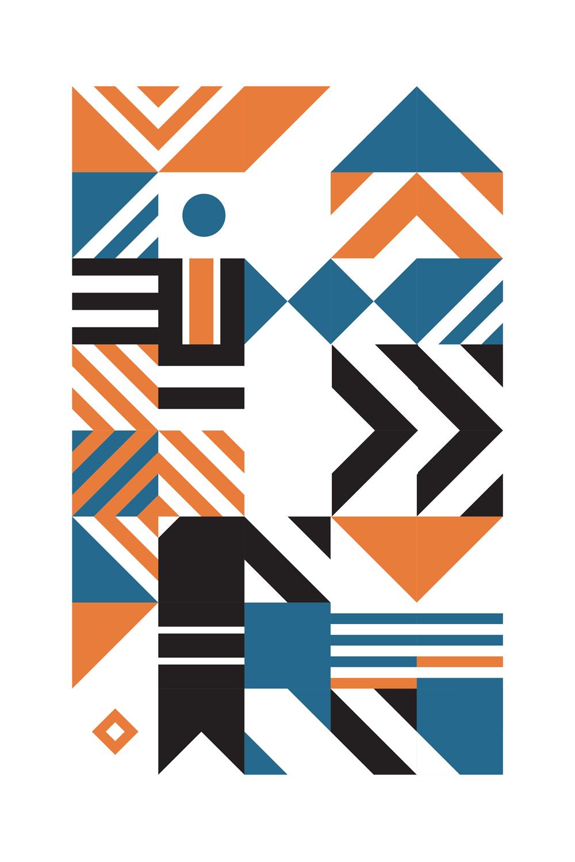 Poster décoration murale - Affiche d\'art en édition limitée - Géométrique Orange
