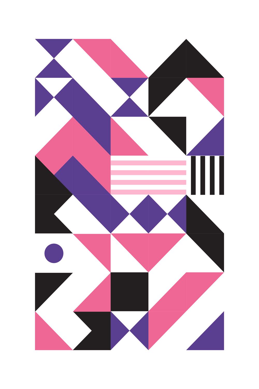 Poster décoration murale - Affiche d\'art en édition limitée - Géométrique Violet