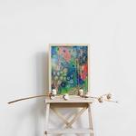 tableau-peinture-tendance-artiste_coloré_fleurs_bleu-rose-vert_fluo