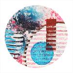 tableau-peinture-tendance-artiste_coloré_roseèbleu-noir_ronds_carré