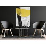 Poster-Decoration-Art-Mural_Contemporain_Minimaliste_Formes_NoirEtJaune_CoupDePinceau_cadre