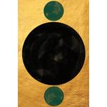 Poster-Decoration-Art-Mural_Contemporain_Minimaliste_Forme_Or_Gold_Cercles_40x60cm