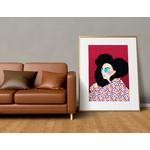 Poster-Decoration-Art-Mural_Dessin_Illustration_Portrait_Motifs_Femme-Mademoiselle2_cadre