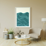 Poster-Decoration-Art-Mural_Minimaliste_Mer_Bleu_Turquoise_Rayures_Traits_cadre