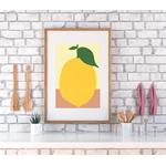 Poster-Decoration-Art-Mural_Contemporain_Minimaliste_formesetcouleurs_cuisine_GrosCitron_cadre