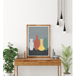 Poster-Decoration-Art-Mural_Contemporain_Minimaliste_formesetcouleurs_cuisine_4Vases_cadre