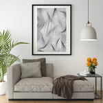 Poster-Decoration-Art-Mural_Contemporain_Minimaliste_Formes_RayuresFroissees_cadre