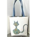 sac cabas chat fleuri bleu