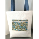 dos sac cabas chat fleuri bleu
