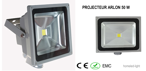 Projecteur ext rieur led cob arlon 50 w avec detecteur de presence homeled light eclairage for Projecteur led avec detecteur de presence