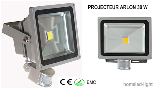 projecteur ext rieur led cob arlon 30 w avec detecteur de. Black Bedroom Furniture Sets. Home Design Ideas