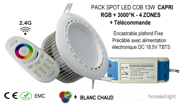 Pack spot led 13w fixe rgb blanc chaud encastrable for Spot exterieur encastrable plafond
