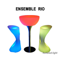 ENSEMBLE BAR LUMINEUX RIO TABLE + 2 TABOURETS