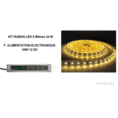 KIT RUBAN LED 24W 2700K° 5 M + ALIMENTATION 30W Homeled-light