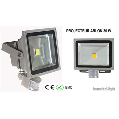 projecteur ext rieur led cob arlon 30 w avec detecteur de presence homeled light eclairage
