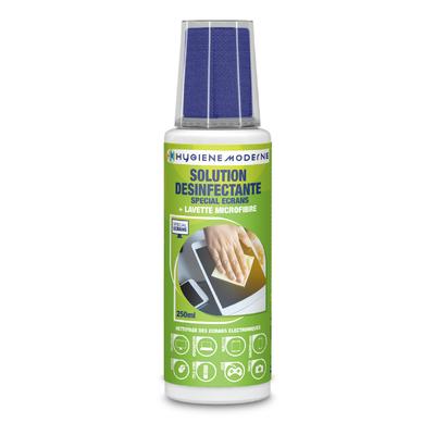 Solution désinfectante spéciale écrans 250 ML + lavette microfibre
