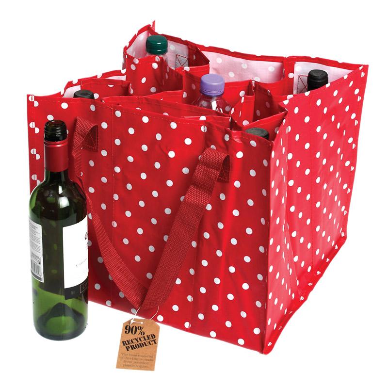 Grand sac bouteille r tro rouge pois blanc sacs et cabas - Range sac plastique ikea ...