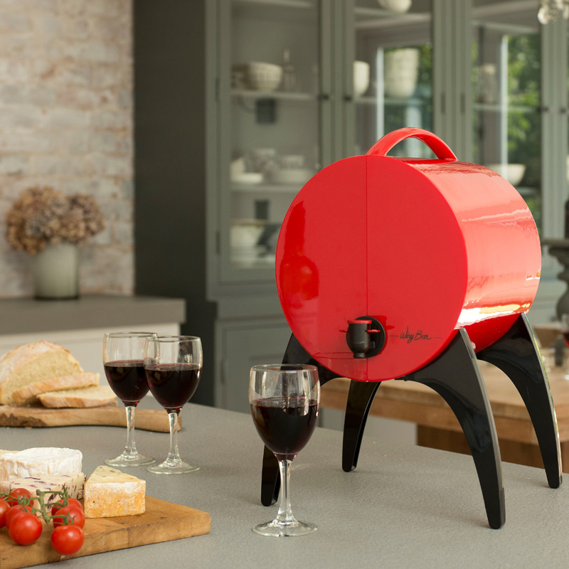 winy bar rouge - fontaine de table pour vin en cubi et bag in box