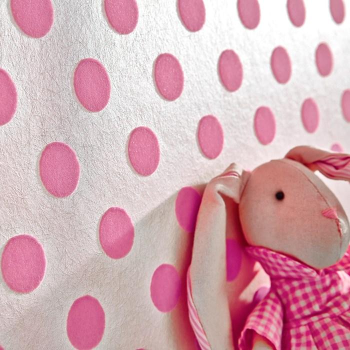 Papier Peint Pois Roses : Papier peint floqué petit point rose design et original