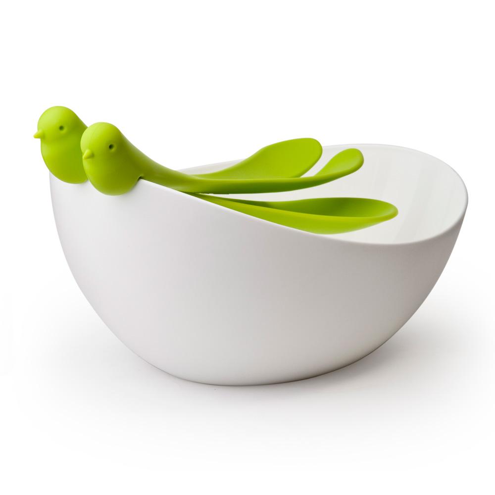 saladier et couverts salade oiseaux vert art de la table plats saladiers coupes et bols. Black Bedroom Furniture Sets. Home Design Ideas
