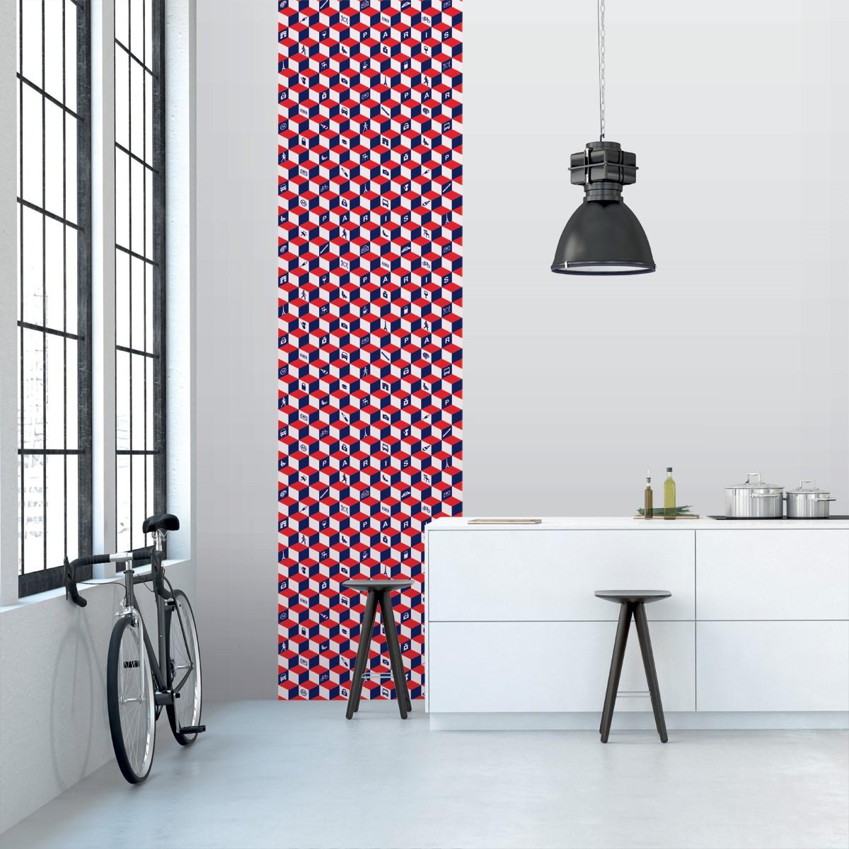 l de papier peint 7005 cube 3d rouge bleu d co. Black Bedroom Furniture Sets. Home Design Ideas