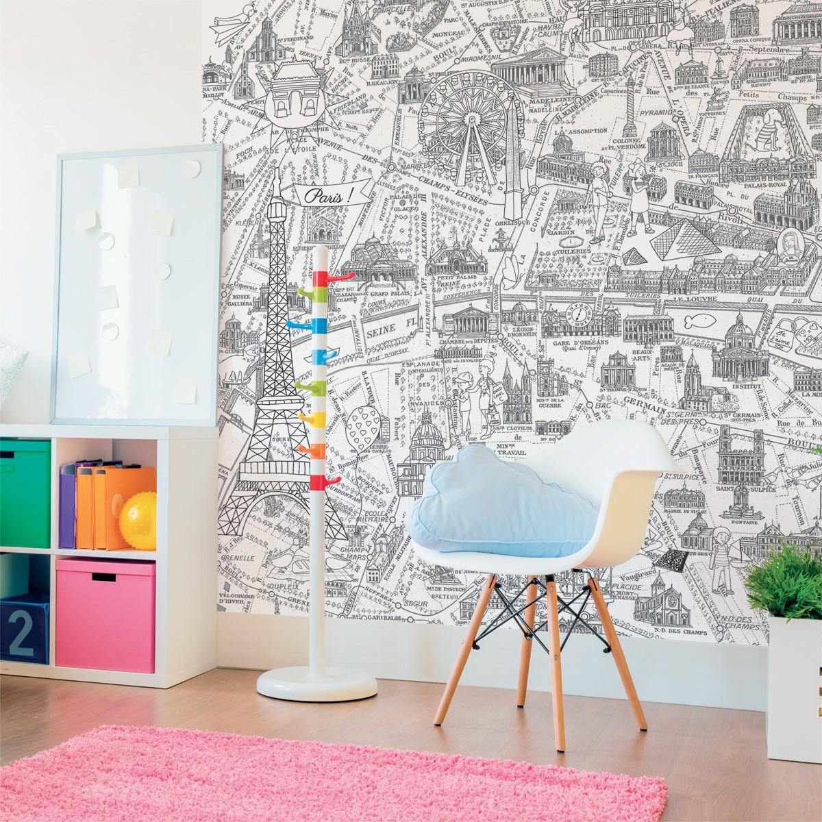 Papier peint panoramique enfant 143182 plan de paris monumentale colorier - Papier peint a colorier ...
