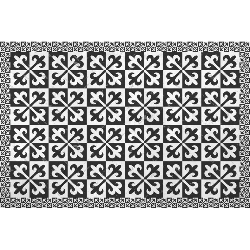 Tapis vinyle carreaux de ciment fleurs de lys - Design from Paris