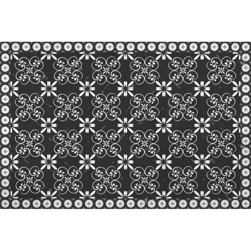 Tapis vinyle carreaux de ciment fleurs - Design from Paris