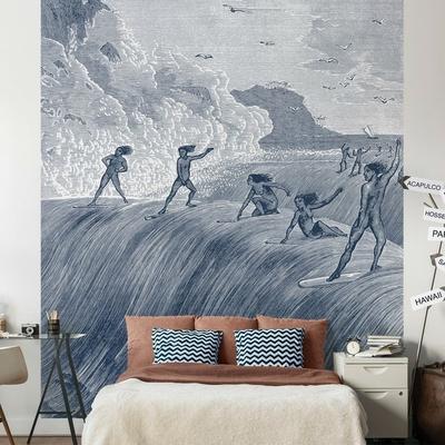 Papier peint Origins of surfing maison leconte bleu