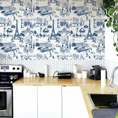 Rouleau de papier peint 9051 La belle vie bleu maison leconte