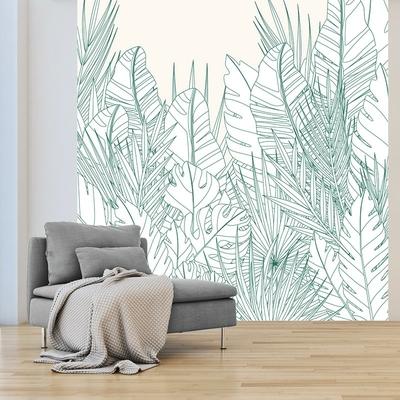 Papier peint panoramique feuillage vert mise en situation