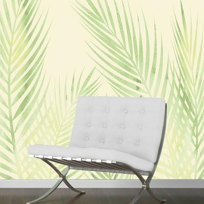 Papier peint panoramique feuilles de palmier mise en situation