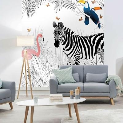 Papier peint panoramique zebre mise en situation