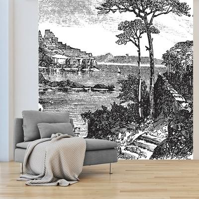 Papier peint panoramique paysage mise en situation