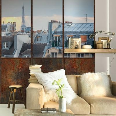 Papier peint panoramique toits de paris mise en situation