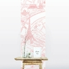 Lé de papier peint - 8004 - Plan de Paris monumentale rose